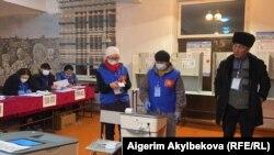 Избирательный участок в Таласе. 10 января 2021 года.