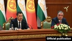 Кыргызстандын президенти Садыр Жапаров жана Тажикстандын президенти Эмомали Рахмон. 29-июнь, 2021-жыл. Дүйшөмбү шаары.