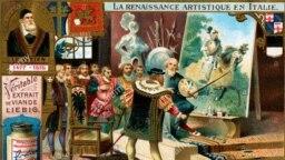 Карл V поднимает кисть Тициана. Дежурный сюжет живописцев в 1900 году нашел применение в рекламе мясного концентрата компании Liebig