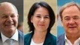 Cei trei candidați la funcția de cancelar susținut de marile partide: Olaf Scholz(Partidul Social-Democrat ), Annalena Baerbock (Partidul Verde) și Armin Laschet (Uniunea Creştin-Democrată)