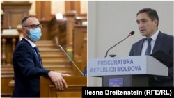 Ministrul Justiției, Sergiu Litvinenco (s) și procurorul general Alexandr Stoianoglo (d)