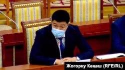 Дамирбек Назаров на заседании Жогорку Кенеша. 20 января 2021 года.