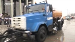 Snow Plows Disrupt Business Owners' Protest In Minsk