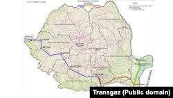 Gazoductul dintre Țărm Marea Neagră și Podișor e reprezentat cu roșu pe hartă.