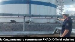 Емкость на нефтяной перекачивающей станции на Ямале, где 17 августа произошел взрыв