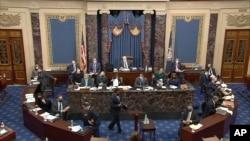 АКШнын Сенаты мурдагы президент Д.Трампка карата экинчи импичмент боюнча сот ишин баштады. Капитолий. 2021-жылдын 9-февралы.