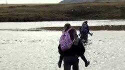 Wading To School In Irkutsk