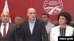 Nika Melia, liderul Mișcării Naționale Unite anunță încheierea boicotului parlamentar, Tbilisi, Georgia, 31 mai 2021.