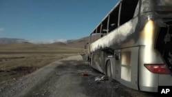 Armenia - A passenger bus in Gegharkunik region destroyed in what the Armenian military described as an Azerbaijani air strike.