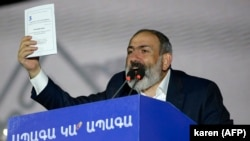 ARMENIA -- Armenian Prime Minister Nikol Pashinian gives a speech during a campaign rally in central Yerevan, June 17, 2021
