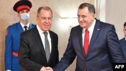 Serghei Lavrov și Milorad Dodik la Sarajevo, 14 decembrie 2020