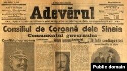 Ziarul Adevărul din 23 iulie/5 august 1914: anunțuri, fotografii și opinii despre război.