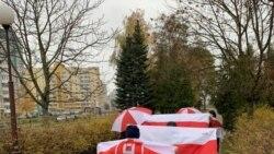 Гродно шаарындагы демонстранттар көтөргөн туулар. Беларус. 2020-жылдын 8-ноябры. Архив.