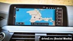 Позначення Криму на навігаційній системі автомобіля BMW