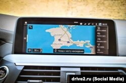 Обозначение Крыма на навигационной системе автомобиля BMW