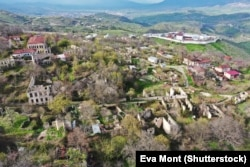 An aerial view of Nagorno-Karabakh's mountain fortress city of Shushi/Susa.