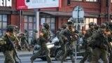 Беларусьтегі президент сайлауынан кейінгі наразылық кезіндегі полиция жасағы. 10 тамыз 2020 жыл.