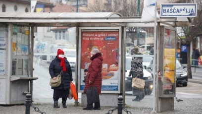 Bosnia and Herzegovina -- New epidemiological measures due to coronavirus pandemic in Sarajevo (Bascarsija, people, tram), March 22, 2021.
