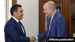 RFE/RL President and CEO Jamie Fly meets with the President of the Kyrgyz Republic Sadyr Japarov in Bishkek (14 Sep 2021)