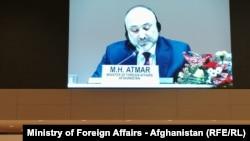 د افغانستان د بهرنیو چارو وزیر محمد حنیف اتمر جنیوا کنفرانس ته د وینا پر مهال