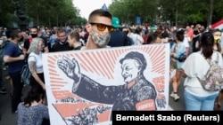 A Fudan magánegyetem közpénzből való megvalósítása elleni tüntetés Budapesten, 2021. június 5-én