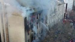 Пожежа в центрі Одеси. Горить училище – відео з дрона