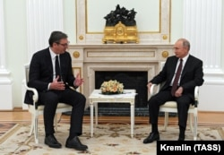 Russian President Vladimir Putin attends a meeting with Vucic in Moscow on June 23.