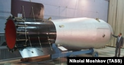 A full-sized mock-up of Tsar Bomba on display at the museum of the Federal Nuclear Center in the town of Sarov. (file photo)