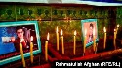 الیاس داعی خبرنگار رادیو آزادی کشته شده در هلمند و یما سیاووش خبرنگار پیشین طلوع نیوز که در کابل کشته شد.