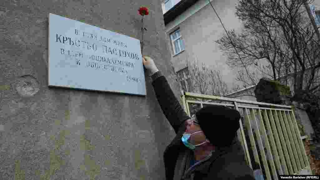 """Мъж с предпазна маска закрепва цвете на паметната плоча на Кръстьо Пастухов, поставена тук през 1998 година. Адресът е ул. """"Бенковски"""" 36. Пастухов (1874-1949) е един от лидерите на българските социалдемократи и министър на вътрешните работи и народното здраве през 1919 г. Той е противник на управлението на Борис Трети през 30-те и началото на 40-те години. След преврата на 9 септември 1944 г. той еосъден на 5 години затвор и умира като затворник на 25 август 1949 г."""