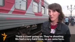 Families Fleeing Luhansk Fighting Arrive In Lviv