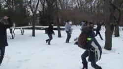 Снежная битва в парке «Победа»