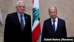 جوزف بوریل، رئیس پالیسی خارجی اتحادیه اروپا (چپ) و میشل عون، رئیس جمهور لبنان