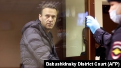 Russian opposition leader Aleksei Navalny, charged with defaming a World War II veteran, looks out from inside a glass cell during a court hearing in Moscow on February 5.
