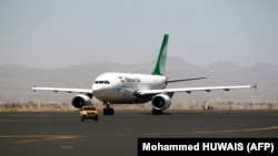 File photo: An Airbus A310-304 aircraft of Mahan Air sits on the tarmac after landing at Sanaa International Airport in Yemen on March 1, 2015.