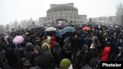 Armenia -- The opposition Homeland Salvation Movement holds a rally at Liberty Square in Yerevan, February 20, 2021.
