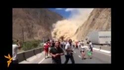 Обвал на дороге к Иссык-Кулю