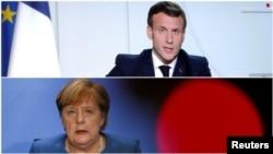 امانوئل مکرون و آنگلا مرکل، رهبران فرانسه و آلمان، در نشست مجازی رهبران کشورهای اروپایی برای گفتوگو درباره مبارزه با تروریسم