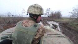 Выезд на БМП к передовым позициям украинских военных в Попасной