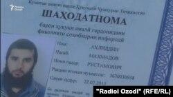 Удостоверение, дающее право Ахлиддину Махмадову на занятие предпринимательской деятельностью