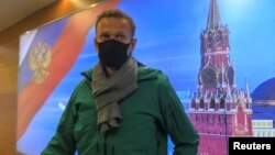 Navalny was detained not long after his arrival in Moscow.