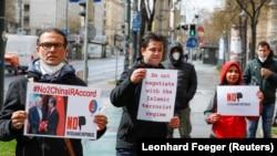 تصویری از اعتراضات قبلی مخالفان برجام در وین