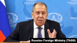RUSSIA -- Russian Foreign Minister Sergei Lavrov holds his annual press conference via video link, Moscow, January 18, 2021