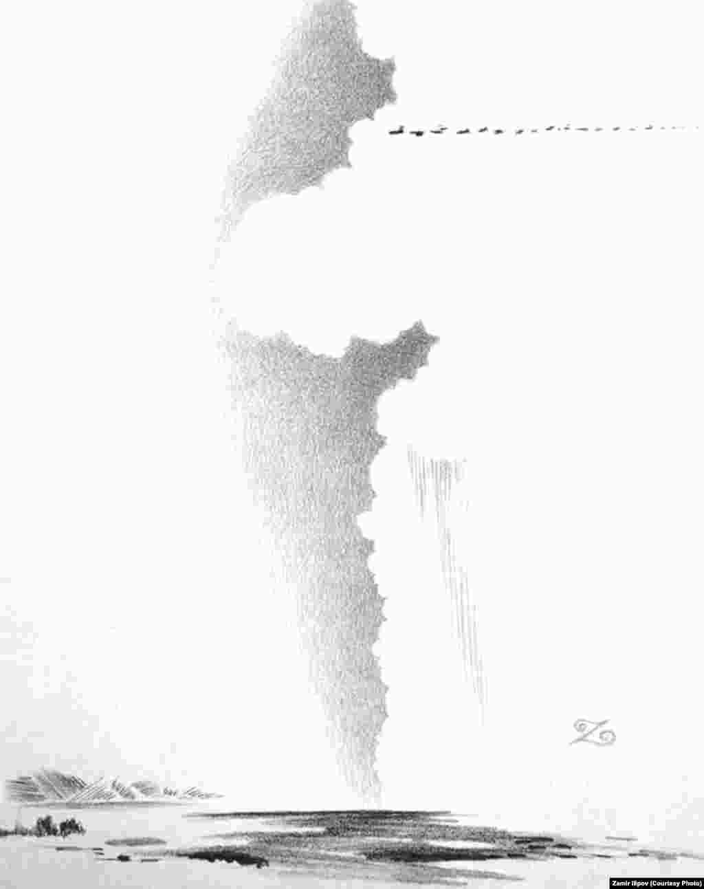 """Сүрөтчү Замир Илиповдун """"Таң нуру"""" аттуу композициясынан"""