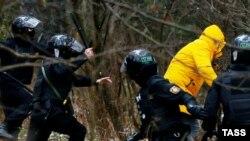 Задержание на одной из протестных акций в Минске