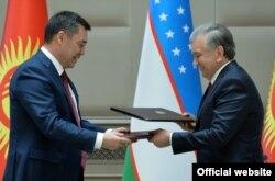 Садыр Жапаров и Шавкат Мирзиеев в Ташкенте, Узбекистан. 11 марта 2021 г.