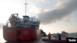 The damaged General Hazi Aslanov oil tanker was being towed in the Sea of Azov.