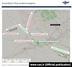 Схема польоту, оприлюднена в іранському звіті 11 липня 2020 року