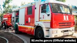 Пожарная машина на месте происшествия, Севастополь, 7 сентября 2021 года