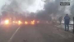 Оставшиеся на сутки без электричества жители Сурхандарьинской области устроили протест и подожгли шины